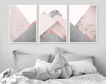 Downloadable prints Set of 3 Mountains Printable art in Blush Pink Grey Scandinavian Modern Contemporary Poster Wall decor Triptych Trending