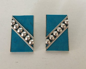 Vintage Sterling Silver & Turquoise Clip-On Earrings