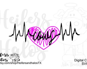 Cows heartbeat lifeline svg, pdf, png, eps, dxf, studio 3 digital CUT FILE cute for t-shirts, decals, etc. ranchy, punchy, farming, heifers