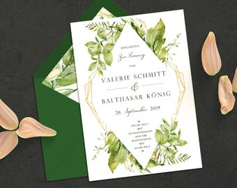 Floral invitation to the wedding | Pastel and Watercolor Optics | Green, Gold