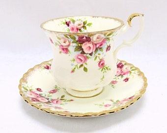 Vintage Royal Albert, Bone China England, ''Cottage Garden'' Porcelain Cup and Saucer, Lady Size