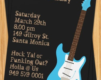 Guitar Birthday Party Invitation - Rock Out - Customize