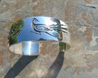 Wilson Mowa ~ Hopi Native American Sterling Silver Well Made Heavy Overlay Cuff Bracelet - 60 Grams
