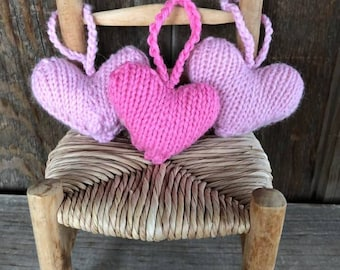Valentine Hearts, Handknit, Natural, Sweet Gift, Pink Hearts, Love, Wedding Favor, Bridesmaids Gift, Rustic Wedding Decor