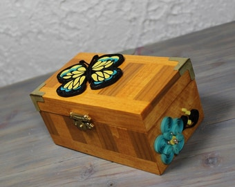 Quilled Wooden Box/Yellow and Turquoise Quilled Butterfly/Trinket box/Quilled Decorative Box