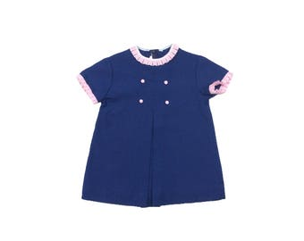 Vintage baby girl mod button front blue dress with pink gingham trim 12-18 months 1960s 60s
