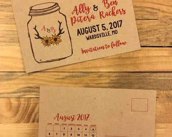 Rustic Save the Date, Sunflower Save the dates, save the date postcards, antler save the dates