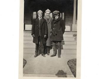 Three men, vintage snapshot photo
