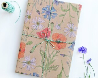 Set of 5 // Wrapping paper Meadow flowers / 5 sheets different coloured flowers