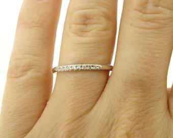 18K Diamond Band, Diamond Wedding Band, 18K Diamond Ring, 18K Band, Wedding Band Women, Engagement Ring, Bridal Ring, 1/3 Eternity Band