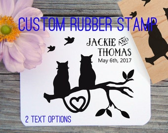 Two Cats Custom Save the Date Wedding Rubber Stamp // Handmade by Blossom Stamps