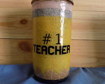 "24 oz Ball mason jar glitter epoxy tumbler ""pencil"""