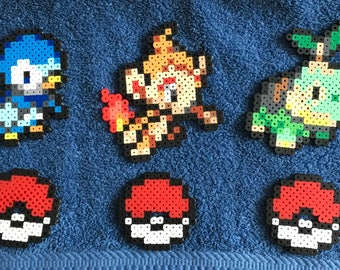 Pokemon Perler Piplup Chimchar Turtwig Figure / Gen 4 Pixel Art