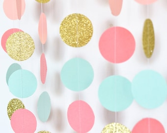 Coral Peach (light coral) Mint Gold, 10ft, Paper Garland, Birthday Party Decor, Wedding Decor, Shower Decor, Nursery