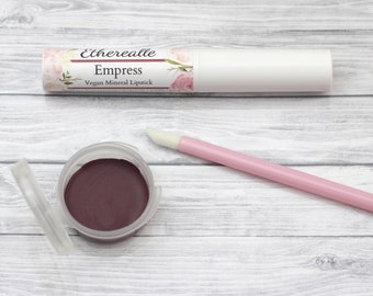"Burgundy Mineral Lipstick - ""Empress"" dark red vegan lipstick - all natural makeup"