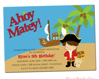 PRINTABLE Boy Pirate Party Invitations #569