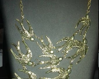 """Flight of swallows"" fantasy, original, handmade necklace, women"