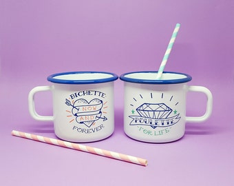 "Set of two enamel mugs ""Poulette For life"" and ""Bichette Forever"""