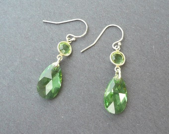 August Birthstone earrings, Swarovski Peridot Crystal