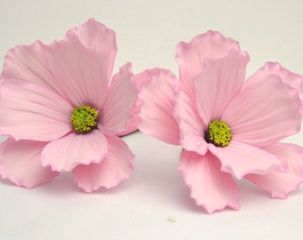 2 x Cosmos sugar flowers, sugarpaste, handmade, cake topper, wedding cake, edible, wired,