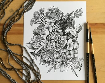 Flower Ink Drawing, Detailed Flowers Art Print #8 - 8x10