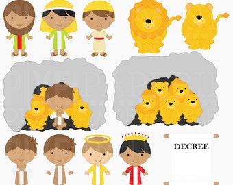 christian clip art religious clipart digital - Daniel and the Lion's Den Digital Clipart - BUY 2 GET 2 FREE