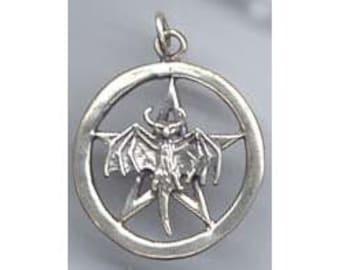 Sterling  Silver Bat Totem Pentacle Pentagram Wiccan Jewelry  Pent112