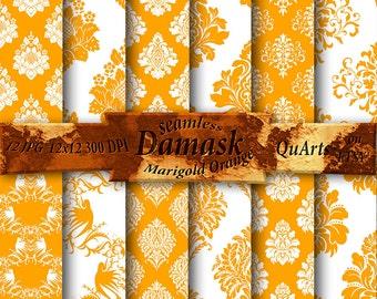 Marigold Orange Damask Digital Paper - Printable Scrapbooking Patterns - Instant Download -  12x12 QuartCrafts