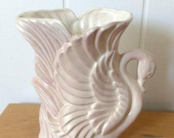 MEMORIAL DAY SALE vintage Stewart McCollogh pink swan vase planter
