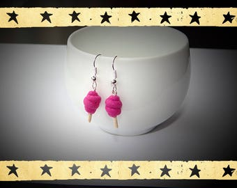 cotton candy purple violet on dangling earrings