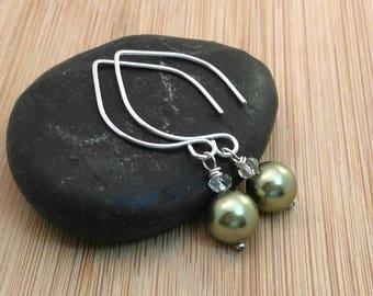 Olive Green Pearl Earrings. Leaf Ear Wires. Autumn Earrings. Sterling Silver Gemstone Earrings. Autumn Jewelry. Fall Wedding Modern Earrings