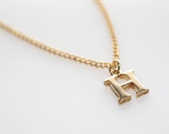 Vintage Gold Initial Necklace - H, N, M, B, C, W