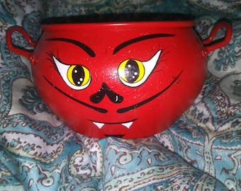 Handpainted Catch All Devil Painted Reclaimed Copper Candy Dish Flower Pot Halloween