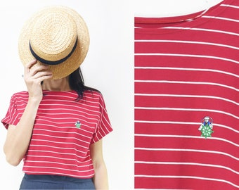 Handmade Striped Red and White Shirt with sailor patch [Bo-bo shirt/sailor patch] Small, Medium; Large