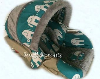 Graco Snugride 30 Alex~Turquoise Elephant/Grey Minky Dot Infant Car Seat Cover 5 piece set-Ready To Ship