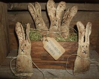 Primitive Grungy Cinnamon Bunns Bunnies Rabbits Folk Art Bowl Fillers, OFG HAFAIR Teams