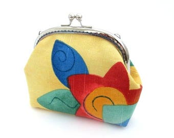 Frame change pouch, multi color yellow, blue, green, orange, silver metal kiss lock clasp bag clutch, metal coin purse