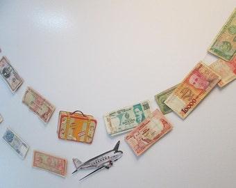 International Money Garland, Travel Banner, Travel Garland, Bon Voyage, Around The World, Airplane Wedding, Travel Decor, Banner