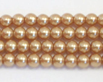 3mm Gold Glass Pearls - 1 strand Grade AAA 3mm glass pearls