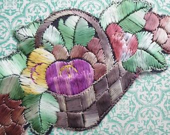 Vintage Applique 1920s 1930s Sew On Fabric Applique Trim Basket of Fruit Motif 20s 30s Art Deco era green brown purple yellow vintage motif
