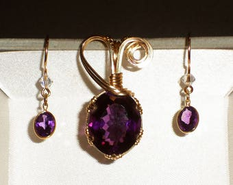 Natural Amethyst pendant and earring set, wrapped in 14K yellow Gold wire