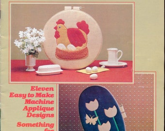 1980s The Hoop Book Machine Applique Designs by Pam Houk Leisure Arts Leaflet Book