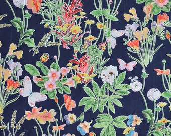 Pima Cotton, Soft, Sensual, Blue, Coral, Floral Print, Quality, Luxurious, Silky smooth, Dressmaking, Drapey, Leafy Print, Blouse Fabric