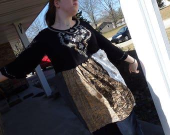 Boho funky tunic, lagenlook tunic,  Boho funky tunic, mori girl, lagenlook tunic, beatnik tops, Plus Size