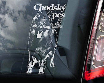 Chodský pes on Board - Car Window Sticker - Bohemian Shepherd Dog Sign Art Decal - V02