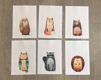 Set of 6 Woodland Animal Prints A4
