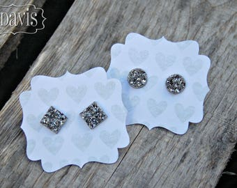 Dark Silver Druzy Earrings