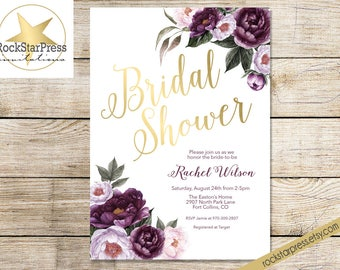 Purple Bridal Shower Invitations - Floral Shower Invite Purple, Plum, Gold Garden Brunch Shower _ 1308