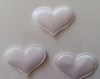 Lot de 3 appliques coeur satin blanc