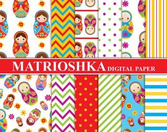 Matrioshka Digital Paper - Digital Pattern, Matrioshka, Russian Doll, Babushka, Matryoshka Papers for Personal and Comme